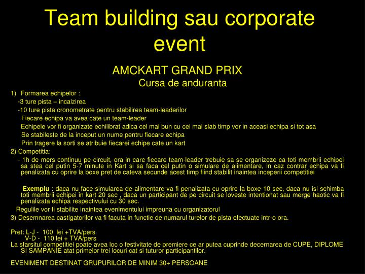 Team building sau corporate