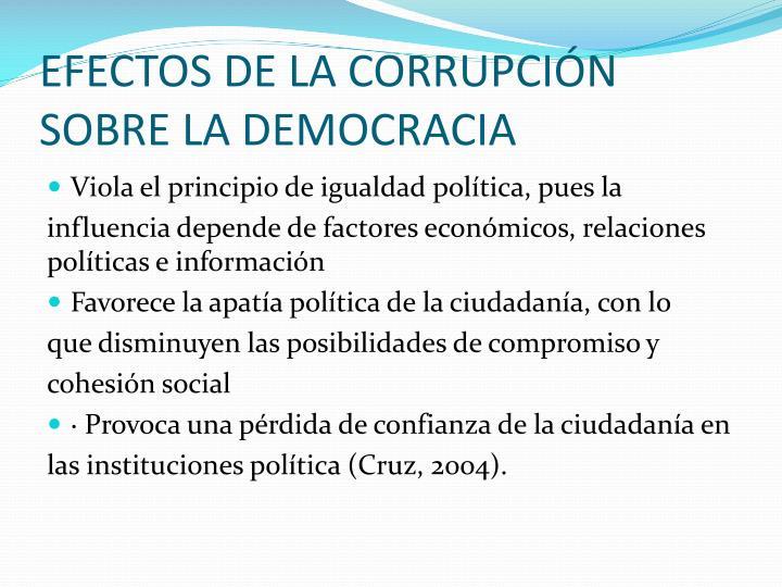 EFECTOS DE LA CORRUPCIÓN