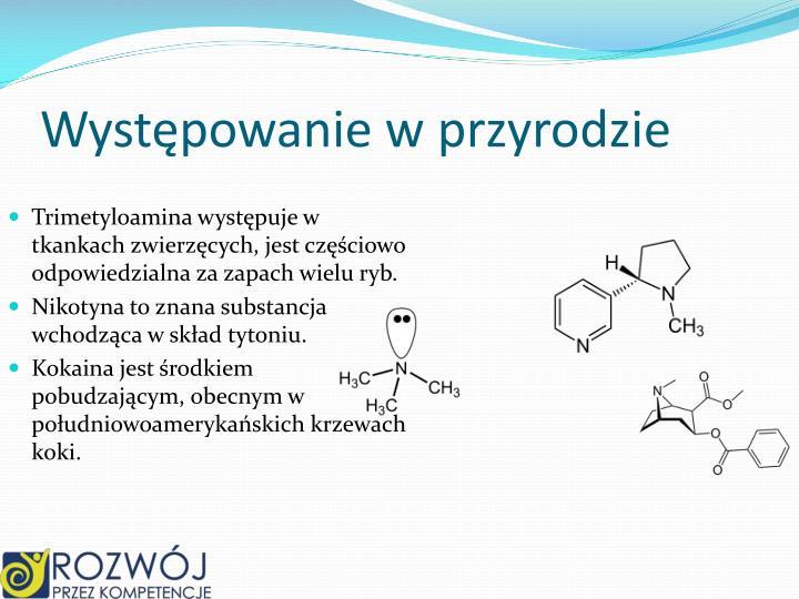 Trimetyloamina występuje w tkankach zwierzęcych, jest częściowo odpowiedzialna za zapach wielu ryb.