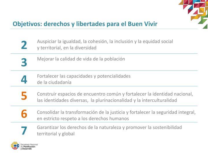 Objetivos: derechos y libertades para el Buen Vivir