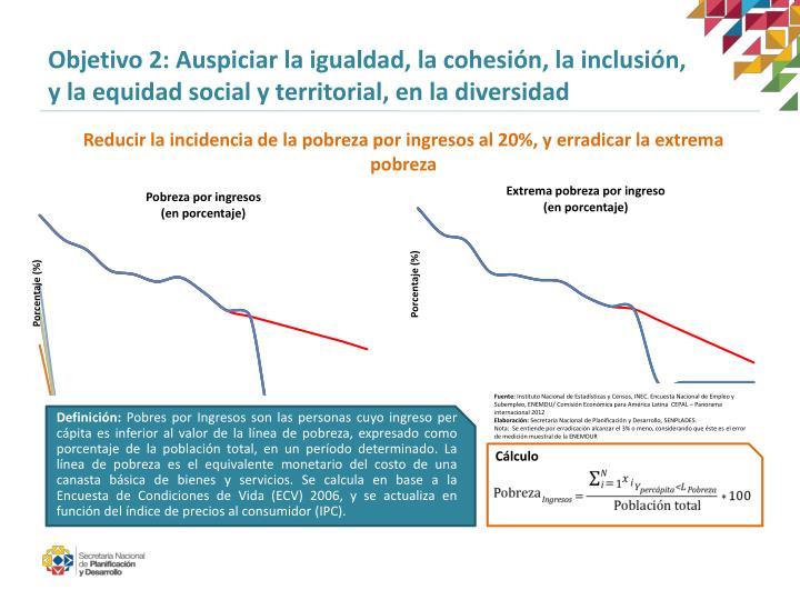 Objetivo 2: Auspiciar la igualdad, la cohesión, la inclusión,