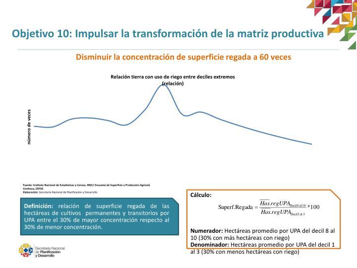 Objetivo 10: Impulsar la transformación de la matriz productiva