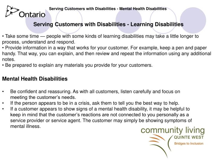 Serving Customers with Disabilities - Mental Health Disabilities