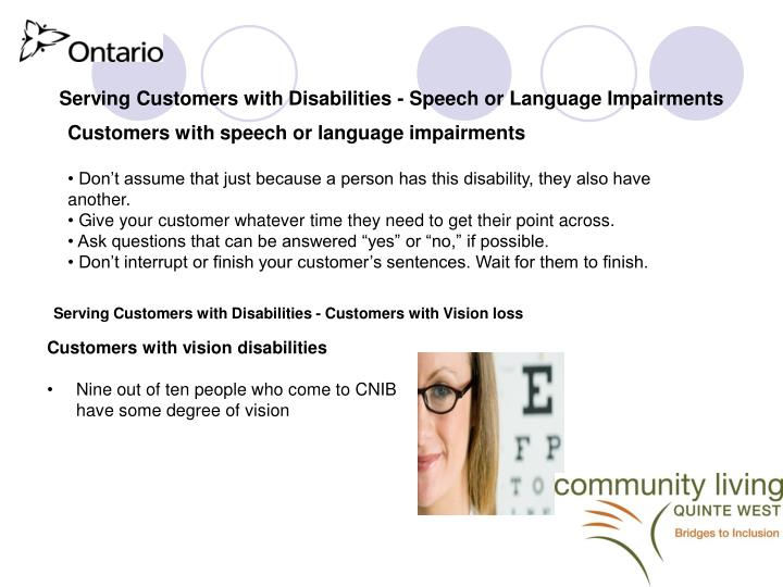 Serving Customers with Disabilities - Speech or Language Impairments