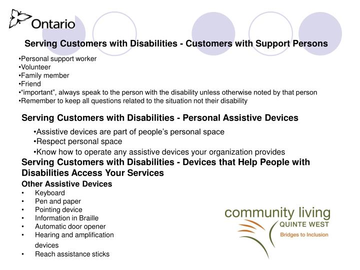 Serving Customers with Disabilities - Customers with Support Persons