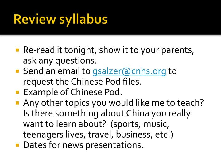 Review syllabus