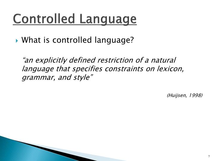 Controlled Language
