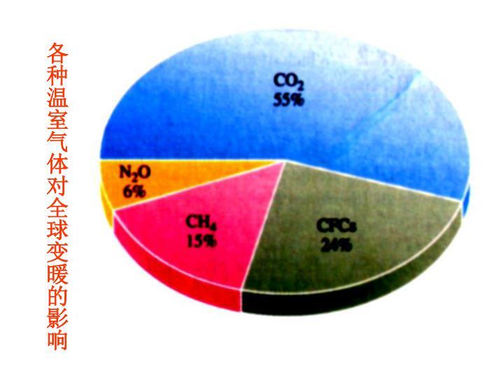 各种温室气体对全球变暖的影响