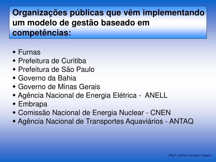 Organizações públicas que vêm implementando um modelo de gestão baseado em competências: