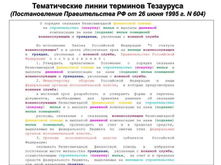 Тематические линии терминов Тезауруса