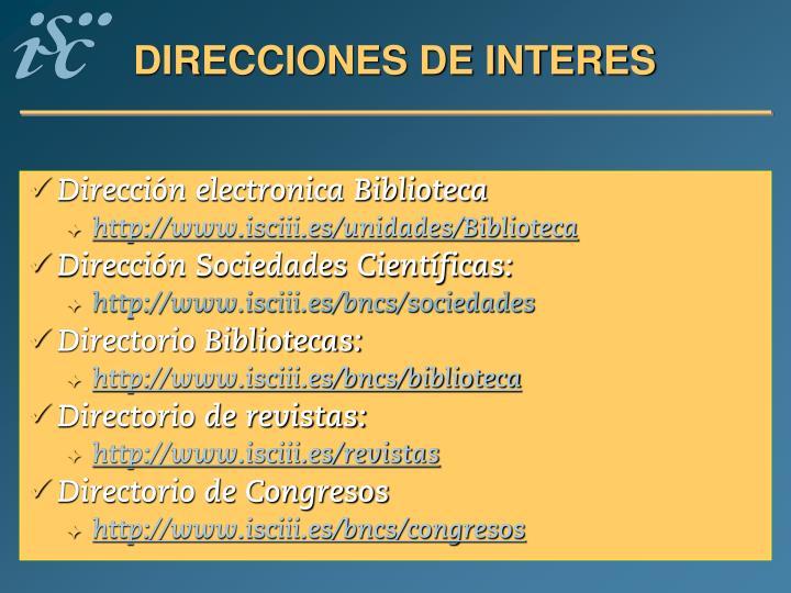 DIRECCIONES DE INTERES