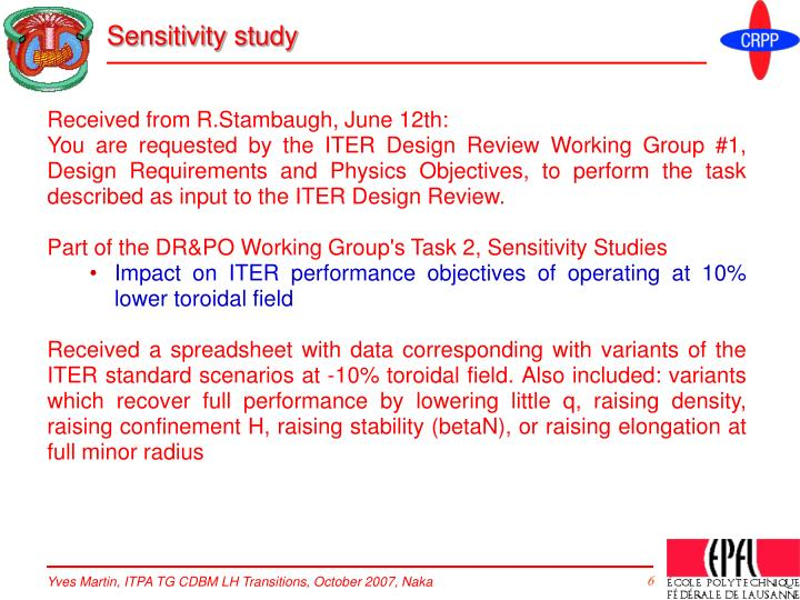 Sensitivity study
