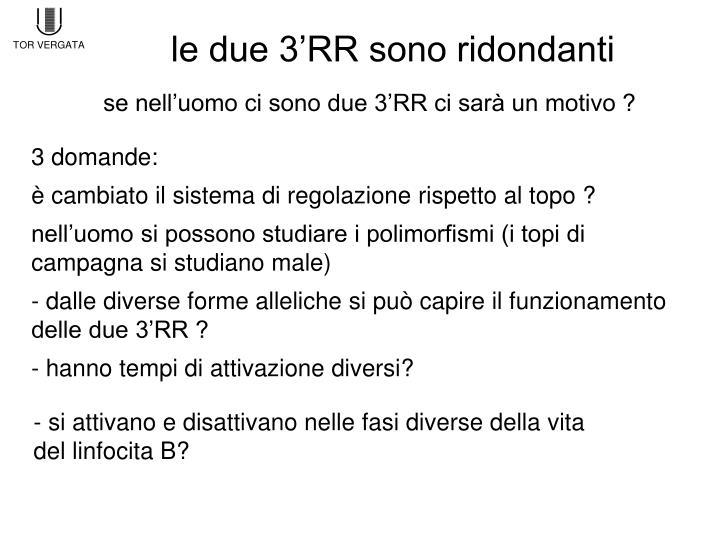 le due 3'RR sono ridondanti