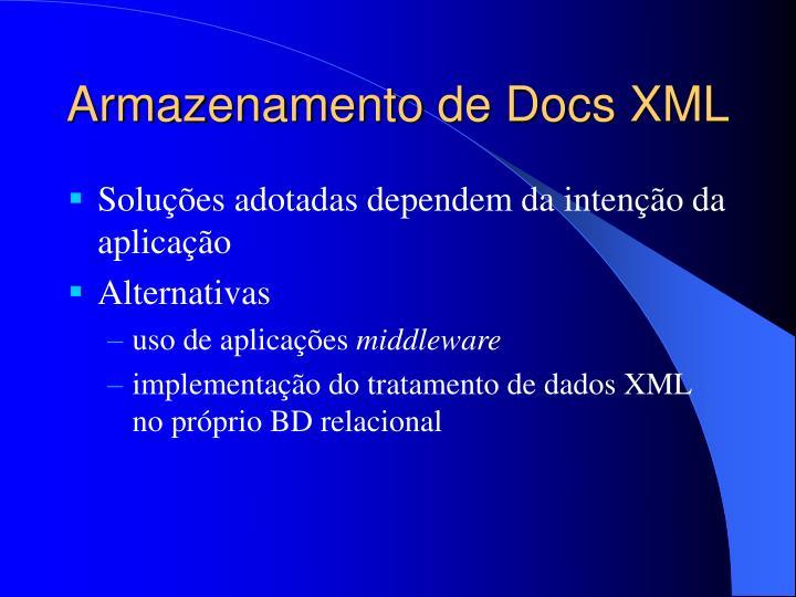 Armazenamento de Docs XML
