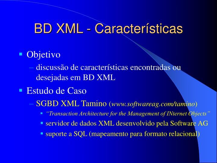 BD XML - Características