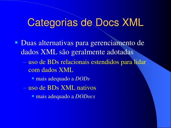 Categorias de Docs XML