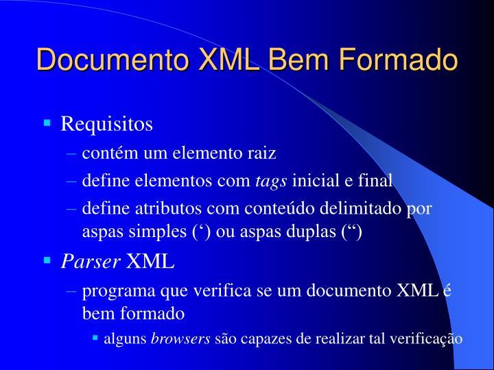Documento XML Bem Formado