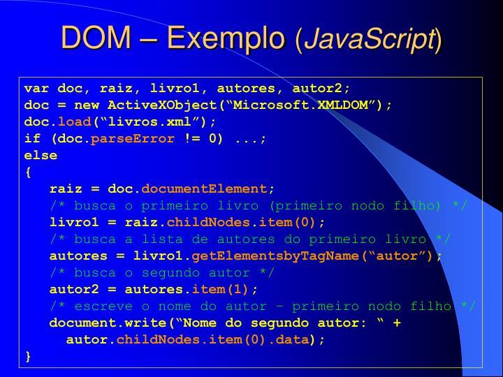 DOM – Exemplo