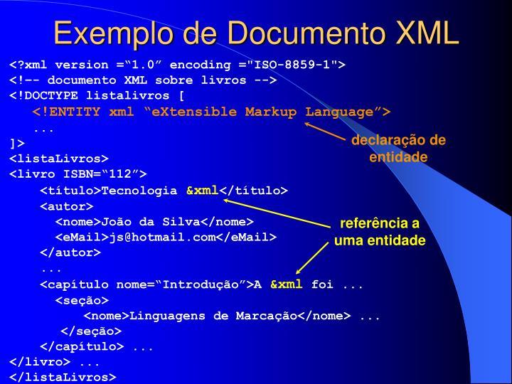 Exemplo de Documento XML