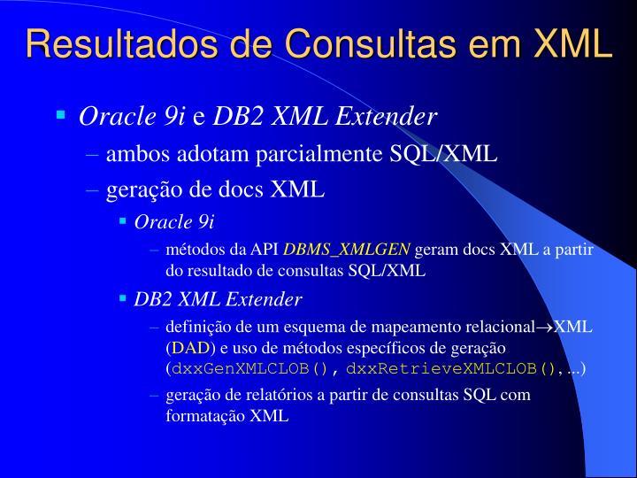 Resultados de Consultas em XML
