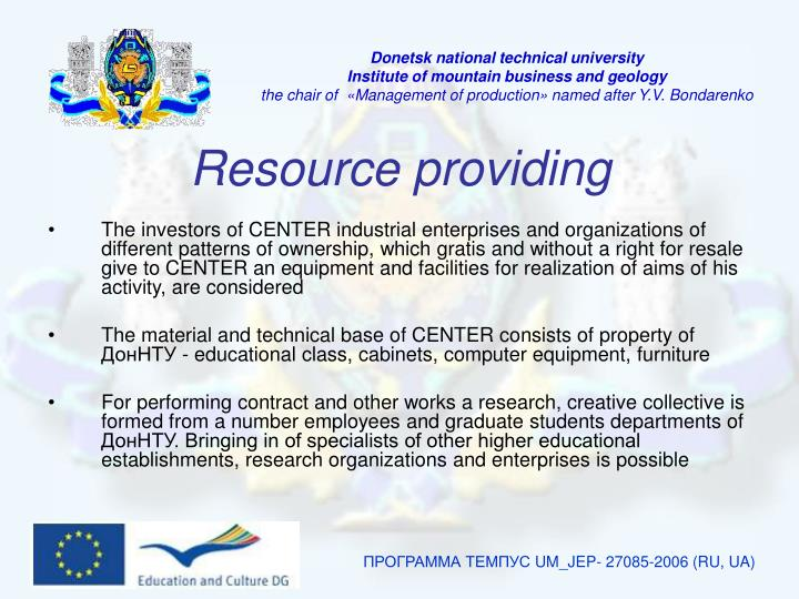 Resource providing