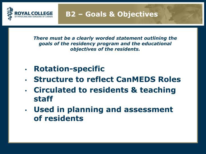 B2 – Goals & Objectives