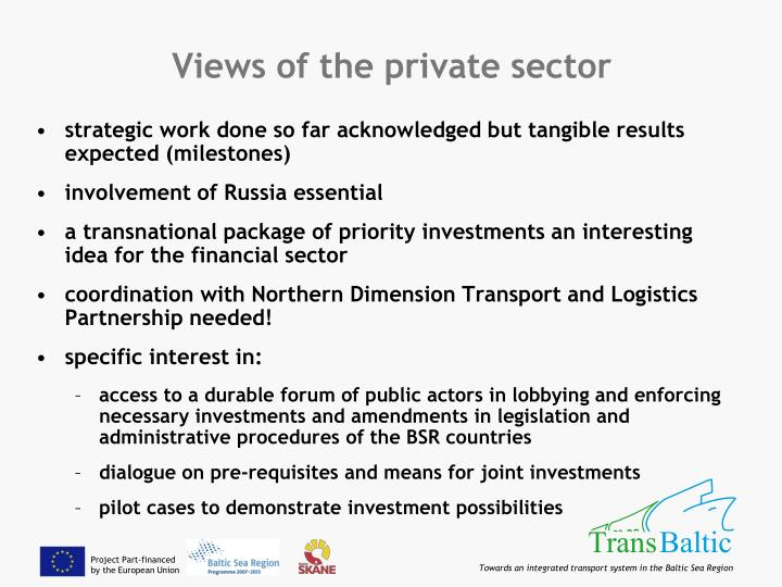 Views of the private sector