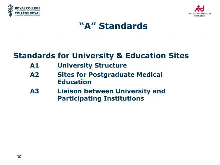 """""""A"""" Standards"""