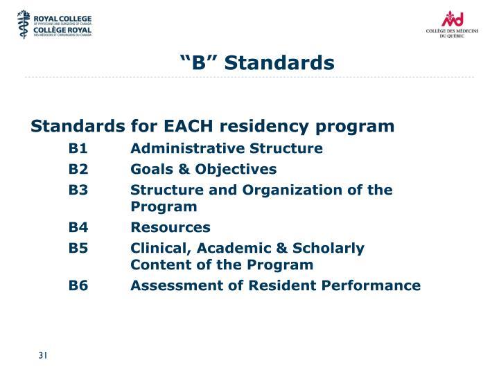 """B"" Standards"