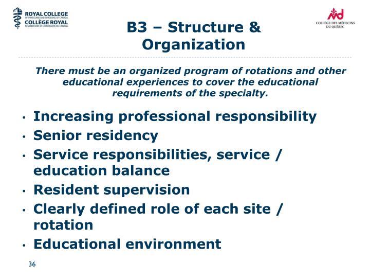 B3 – Structure & Organization