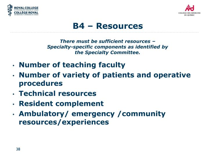 B4 – Resources