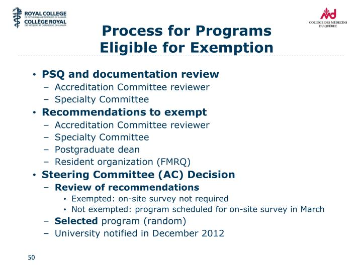 Process for Programs Eligible for Exemption