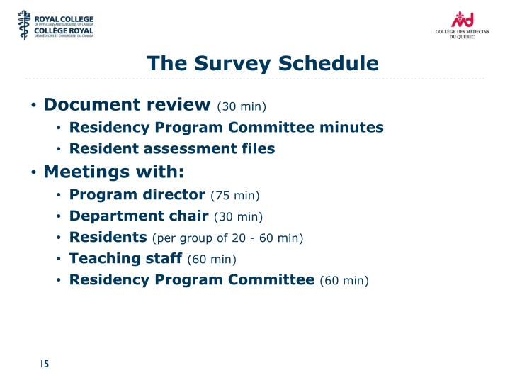 The Survey Schedule