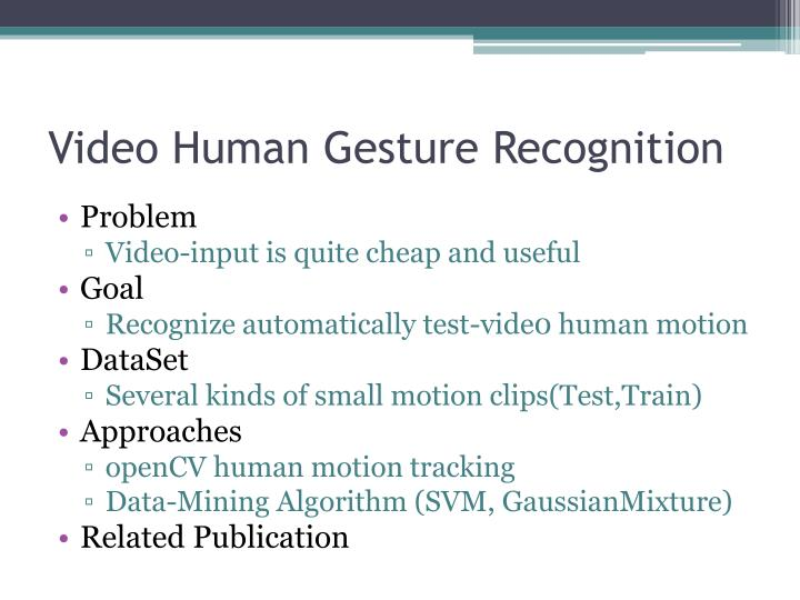 Video Human Gesture Recognition