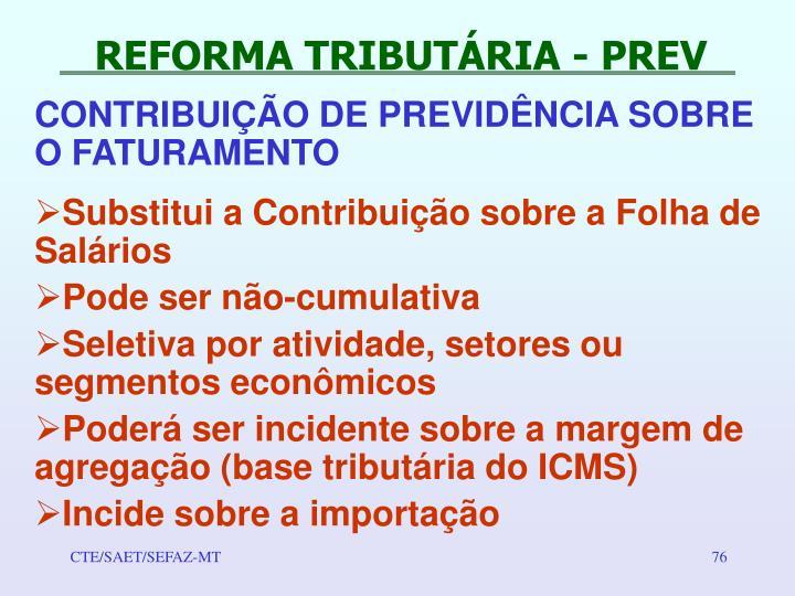REFORMA TRIBUTÁRIA - PREV