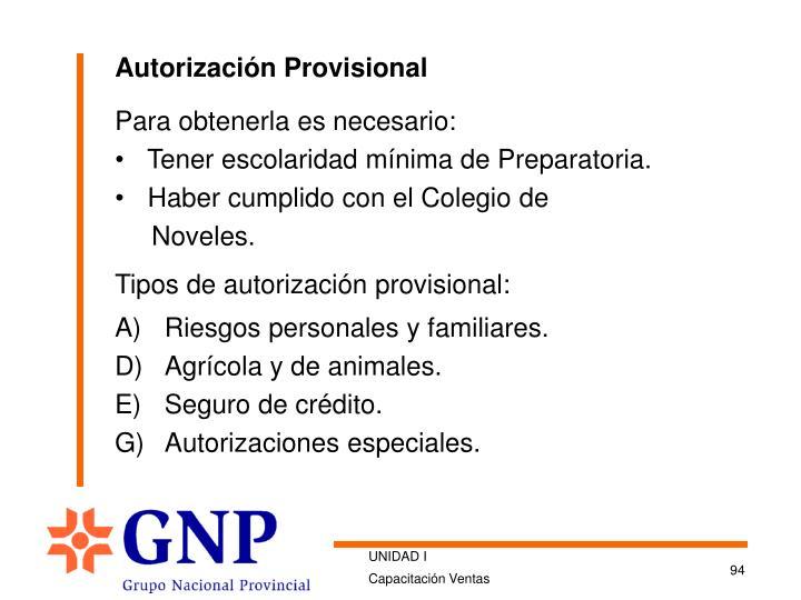 Autorización Provisional