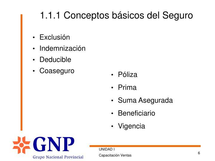 1.1.1 Conceptos básicos del Seguro