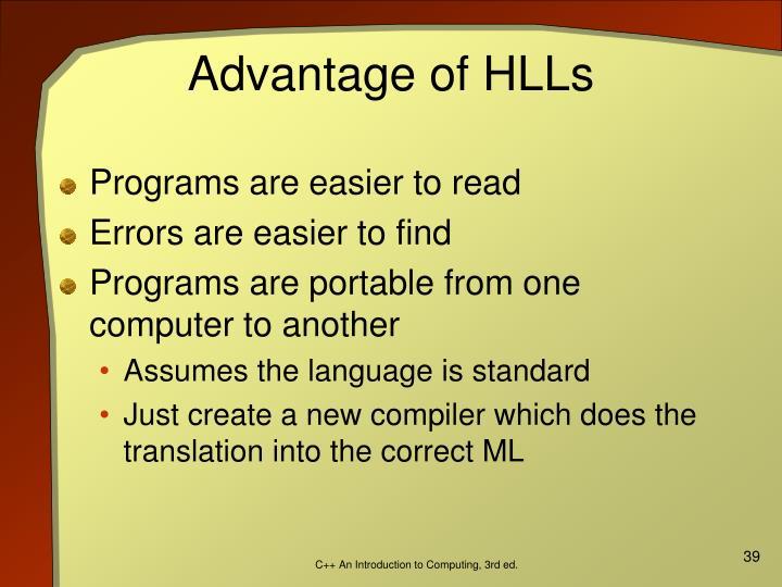 Advantage of HLLs