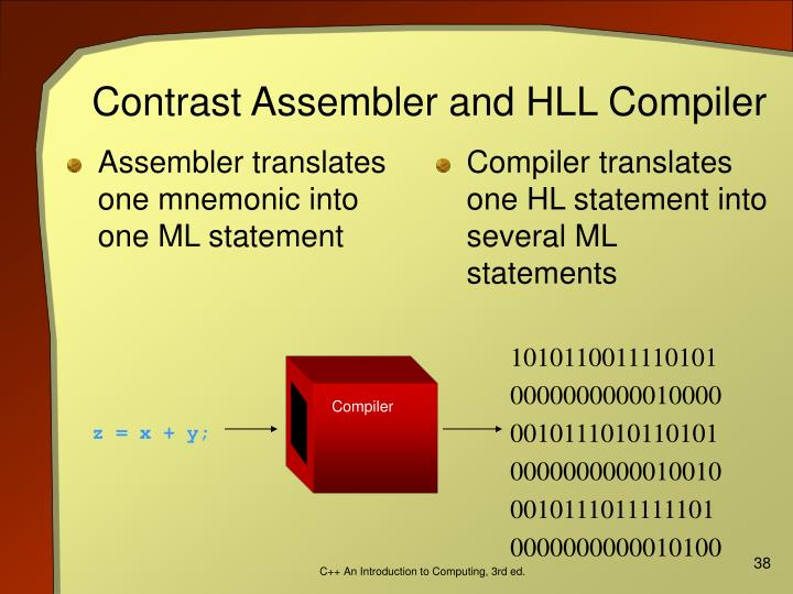 Assembler translates one mnemonic into one ML statement