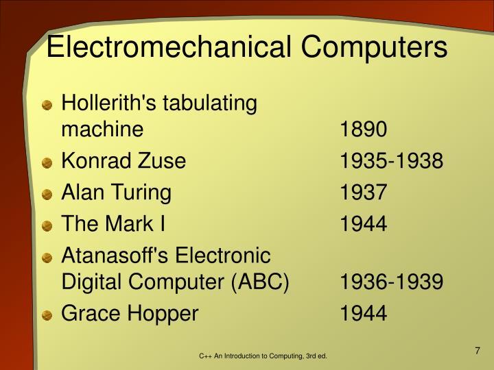 Electromechanical Computers