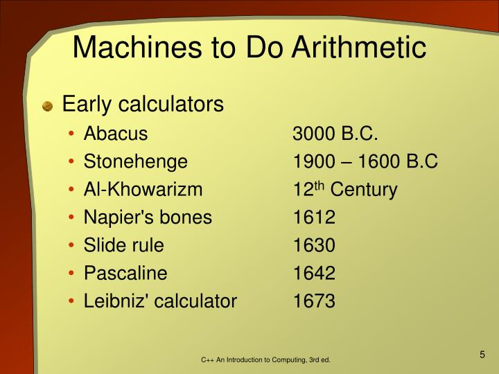 Machines to Do Arithmetic