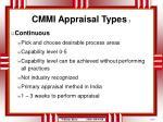 cmmi appraisal types 1