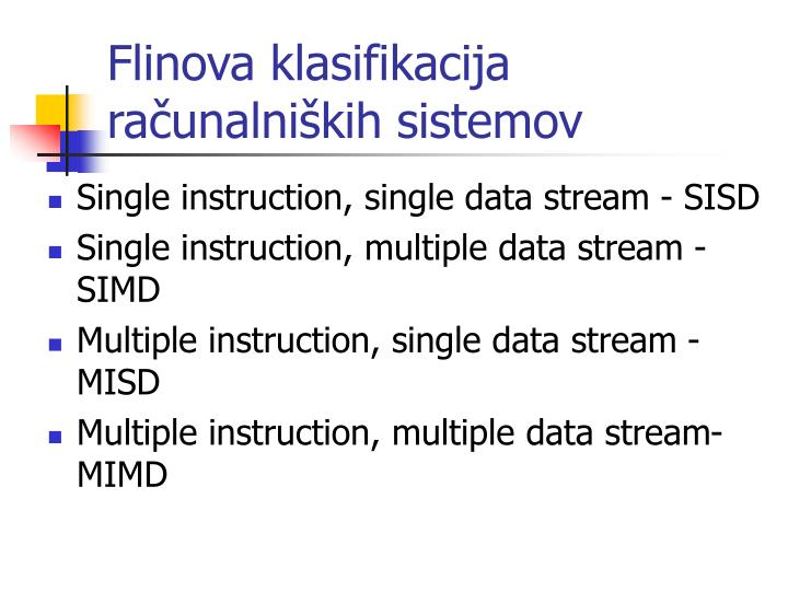 Flinova klasifikacija računalniških sistemov