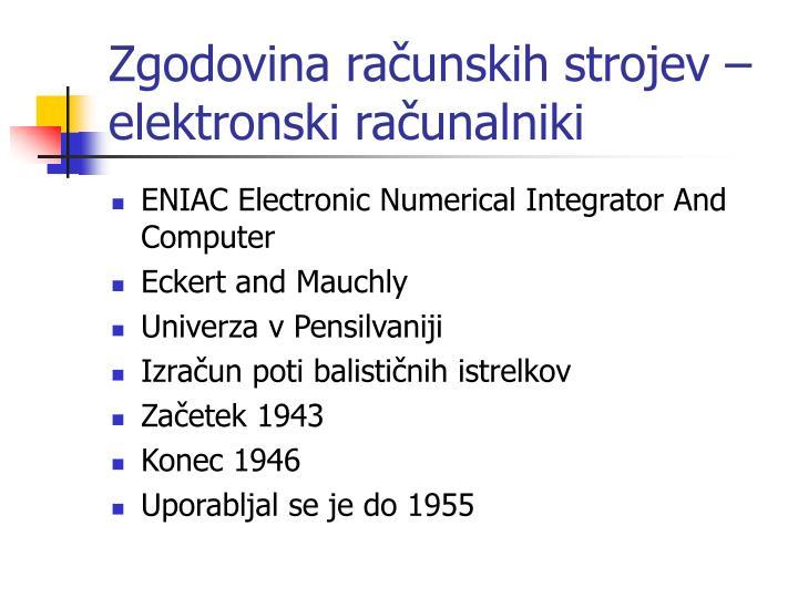 Zgodovina računskih strojev – elektronski računalniki