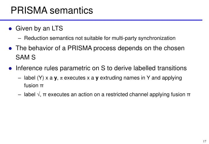 PRISMA semantics