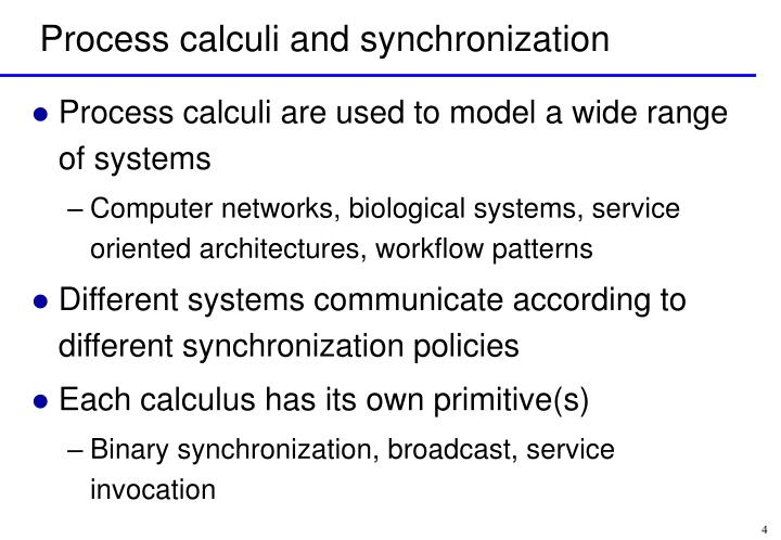 Process calculi and synchronization