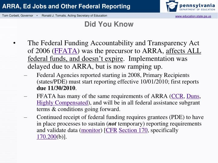The Federal Funding Accountability and Transparency Act of 2006 (