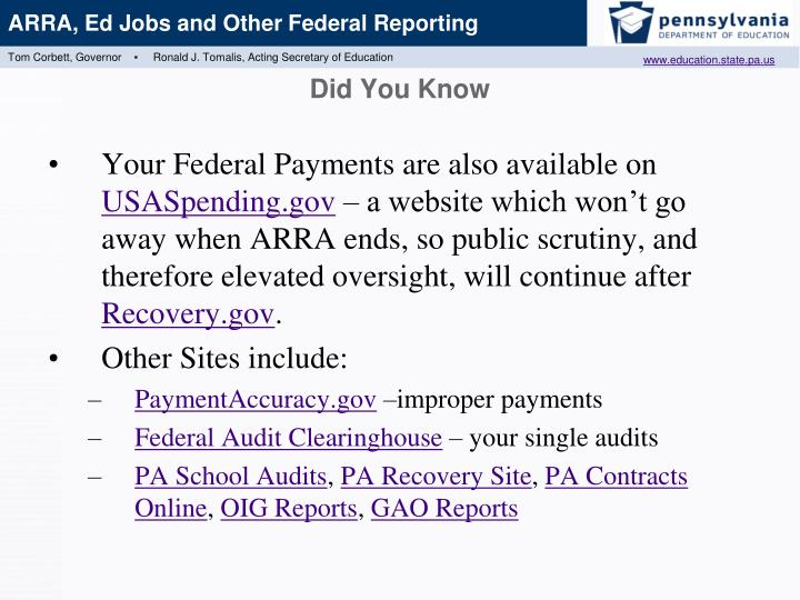 Your Federal Payments are also available on