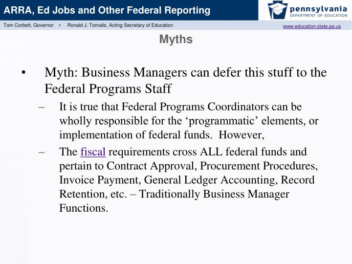 Myth: Business Managers can defer this stuff to the Federal Programs Staff