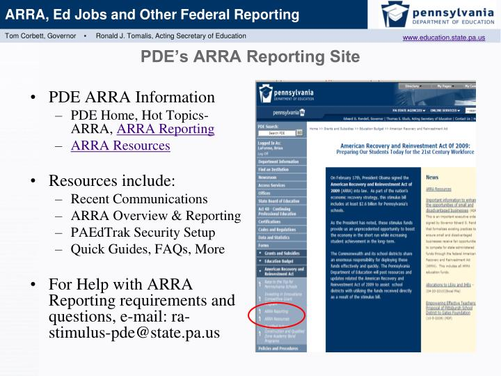 PDE's ARRA Reporting Site